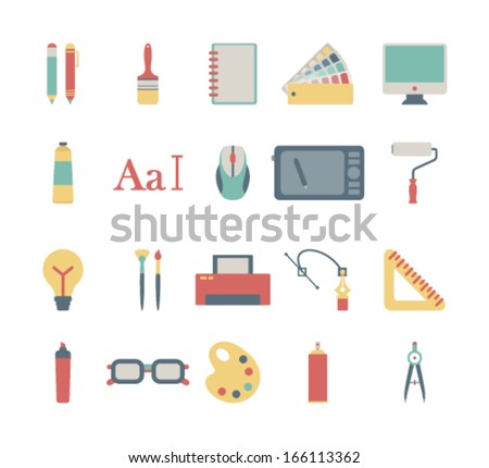 set of colorful graphic design icons - stock vector