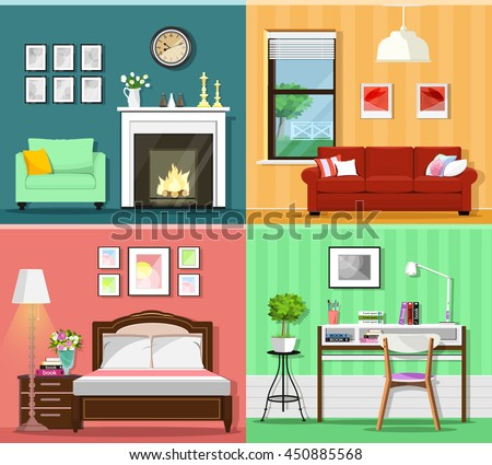 Set colorful graphic room interiors furniture stock vector for Colorful living room furniture