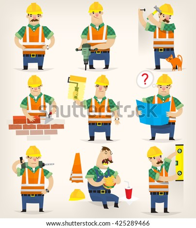 Set of colorful grown up men making different house remodeling and building works at construction site. - stock vector