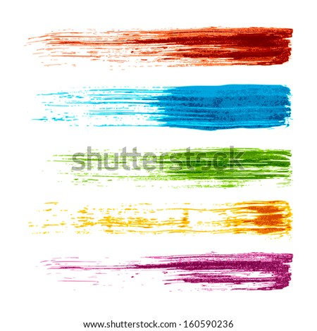 set of colorful grunge watercolor brush strokes