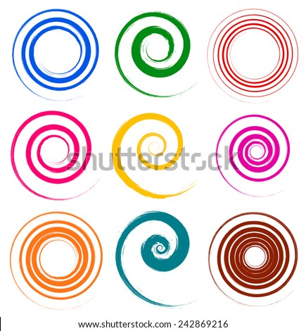 Set of colorful, grungy spiral elements - stock vector