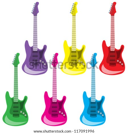 Set of colorful guitars - stock vector