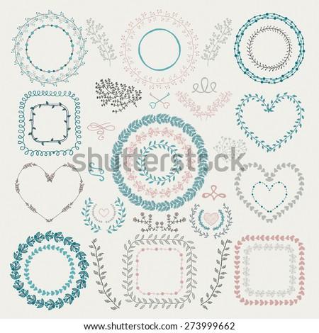 Set of Colorful Hand Drawn Doodle Floral Decorative Borders, Frames, Wreaths, Laurels. Vintage Design Elements. Vector Illustration. - stock vector
