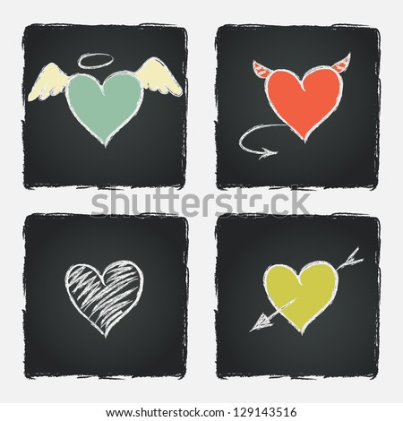 Set of colorful hand drawn hearts on chalkboard background. Vector illustration. - stock vector