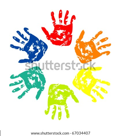 Set of colorful hand prints isolated on white background - stock vector