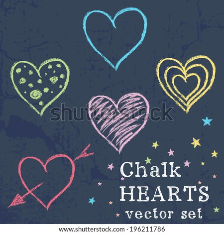 Set of colorful hearts drawn like chalk drawing on grunge chalkboard background. - stock vector