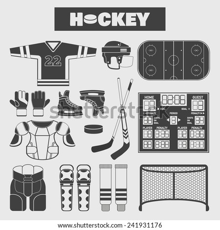 Set of colorful hockey icons in flat style. Vector illustration with various sport symbols on light background - stock vector