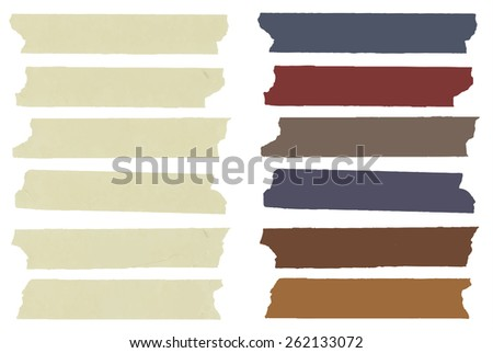 Set of colorful horizontal and different size sticky tape,adhesive pieces, menu template  with copy space on white background. Vector illustration - stock vector
