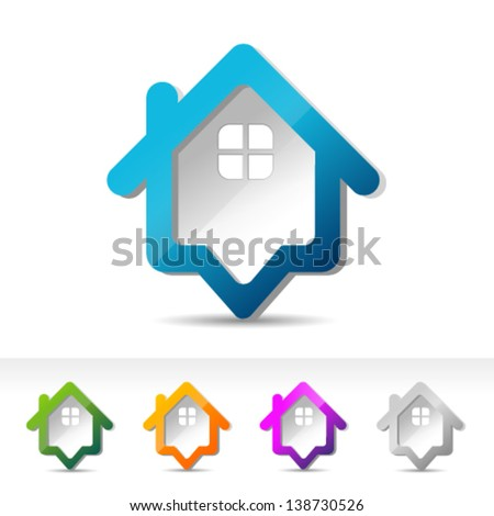 Set of colorful house pointers Icons. Graphic Design Editable For Your Design. - stock vector