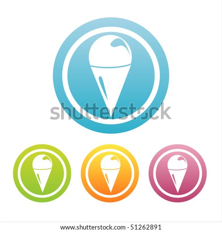 set of 4 colorful ice cream signs