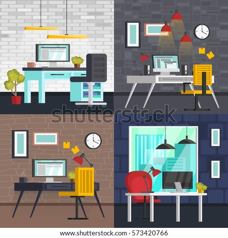 Set Of Colorful Interior With Office Furniture Icons And Workplace Table
