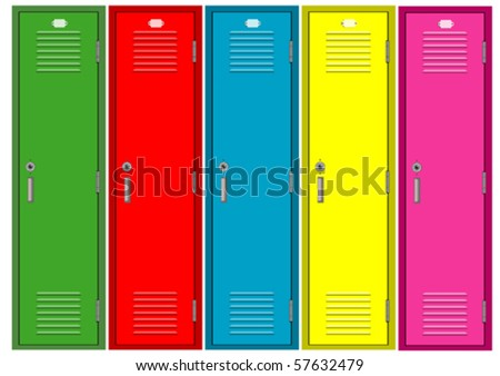 Set of colorful lockers - stock vector