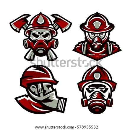 set colorful logos fire department fireman stock vector royalty rh shutterstock com firefighter logos and designs firefighter logo svg