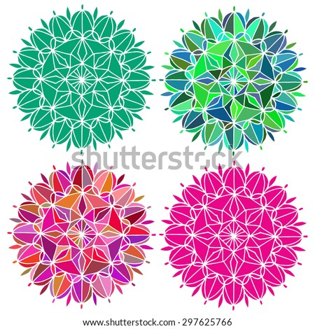 Set of colorful mandala isolated on white. Hand drawn round design elements. Stained glass sample.