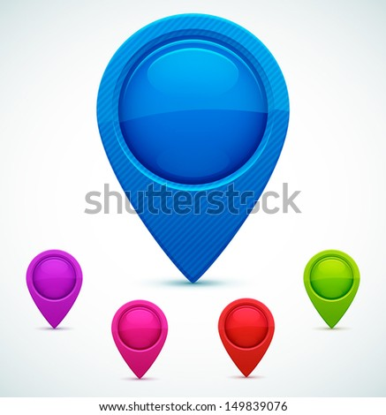 Set of Colorful Map Markers. Vector illustration. - stock vector
