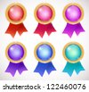 set of colorful medals - stock vector