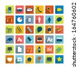 Set of colorful moder long shadows icon. Can be used for print or web.  - stock