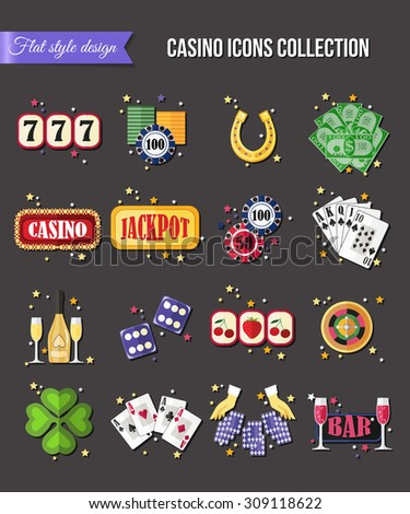 Set of colorful modern gambling icons, casino icons, money icons with long shadow for infographics, presentation templates, web and mobile apps. Flat style design isolated icons. Vector illustration. - stock vector