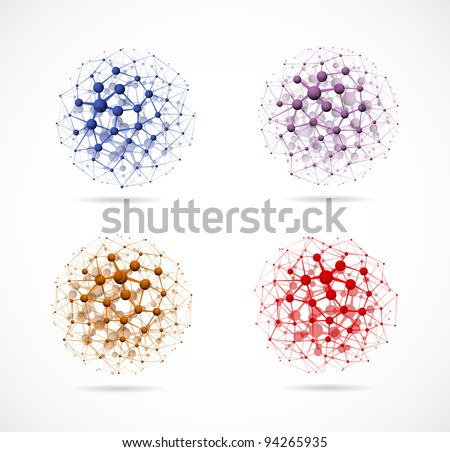 Set of colorful molecular structures in the form of a sphere. Eps 10