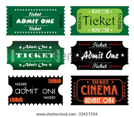 Set of colorful numbered tickets with the text admit one written in various styles inside the tickets - stock vector