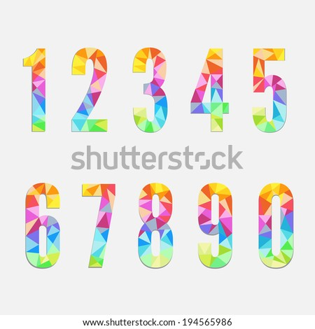 Set of colorful numbers - stock vector