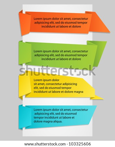 Set of colorful origami paper banners. Vector illustration - stock vector