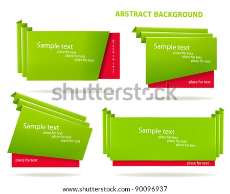 Set of colorful origami paper banners. Vector illustration. - stock vector