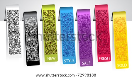 set of colorful ornamental tags - stock vector