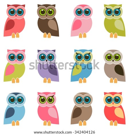 set of colorful owls and owlets - stock vector