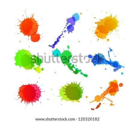 Set of colorful paint blots. EPS10 vector. - stock vector