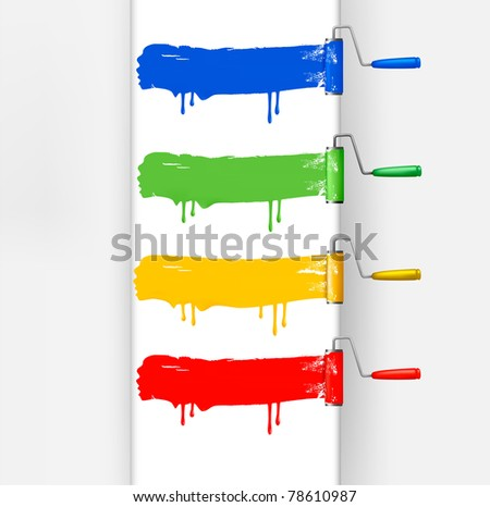 Set of colorful paint roller brushes. Vector illustration. - stock vector