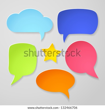 Set of colorful paper speech bubbles on gray background. Vector abstract illustration - stock vector