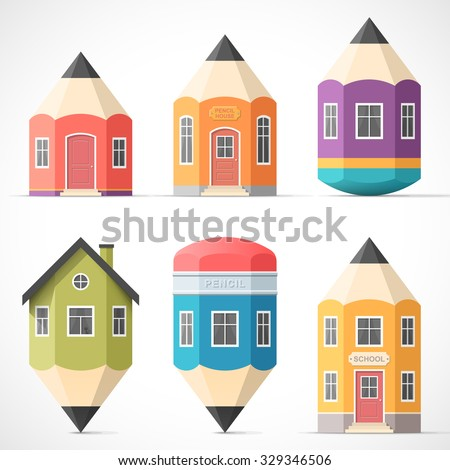 Set of colorful pencil houses. School building icons in flat style. Education and learning concept. Back to school. Easy to change colors. - stock vector