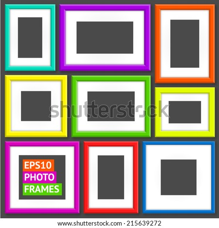Set Of Colorful Photo Frames - stock vector