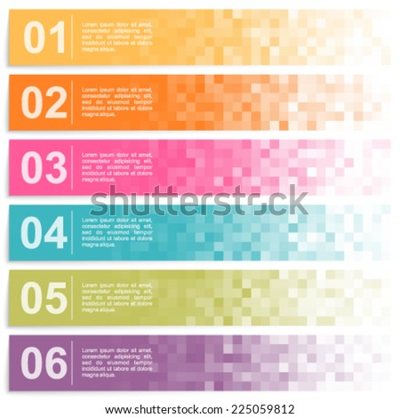 Set of colorful pixel banners with options. - stock vector