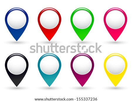 set of colorful pointers on white background with shadow - stock vector