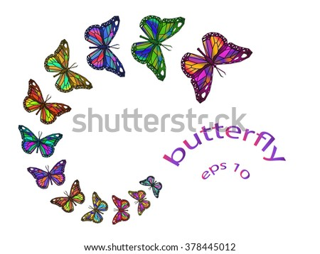 Set of colorful polygonal mosaic flying butterflies.