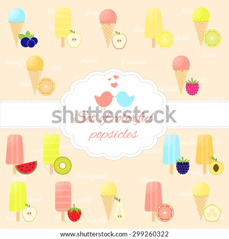 Set of colorful popsicles on wooden sticks and waffles. Fruit ice cream bars isolated. Menu element for cafe or restaurant with desserts. Vector illustration. - stock vector