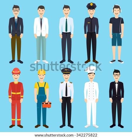 Set of colorful profession man flat style icons: businessman, doctor, artist, designer, cook, police, teacher, pilot, admin. Vector illustration. - stock vector