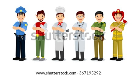 Set of colorful profession man flat style icons: policeman, artist, cooker, military, doctor, firefighter. Vector characters of different professions