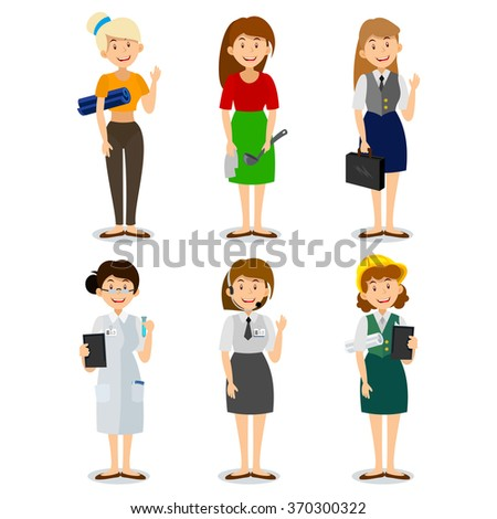 Set of colorful profession woman flat style icons: engineer, housewife, yoga trainer, researcher, scientist, business woman, consultant. Vector characters of different professions.
