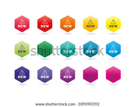 Set of colorful rainbow spectrum new badges signs vector graphic illustration template isolated on white background - stock vector