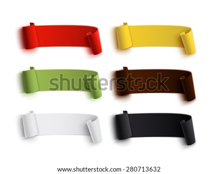 Set  of colorful realistic, detailed curved paper banners, isolated on white background. Ribbons. Vector illustration - stock vector