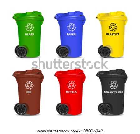 Set of colorful recycling bins. Vector. - stock vector