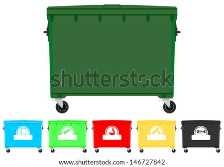 Set of colorful recycling bins with signs. Place for any text. - stock vector