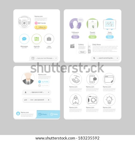 Set of colorful responsive  flat UI navigation elements with icons set  for personal portfolio website and mobile templates. - stock vector