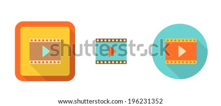 set of colorful retro icons - video, suitable for flat design, isolated on white,vector illustration, eps 10 with transparency - stock vector
