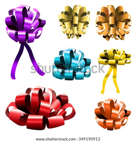 Set of colorful ribbon bows. VECTOR. Purple, yellow, orange, light blue and red bows - stock vector