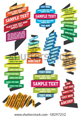 set of colorful ribbons for your text