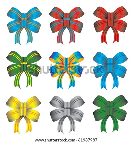 set of colorful ribbons, vector illustration